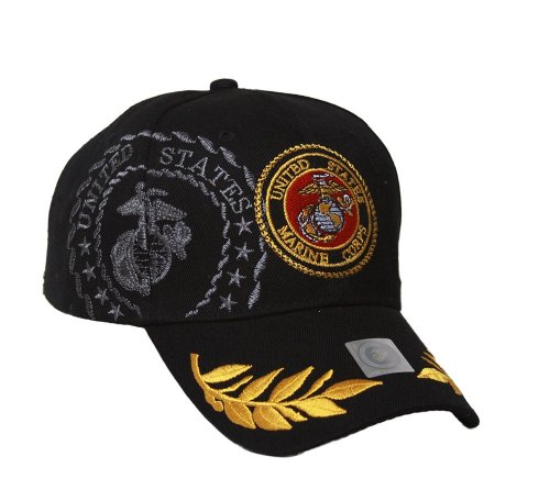 0798711856985 - MILITARY - US MARINE CORPS EMBLEM SHADOW HAT - BLACK