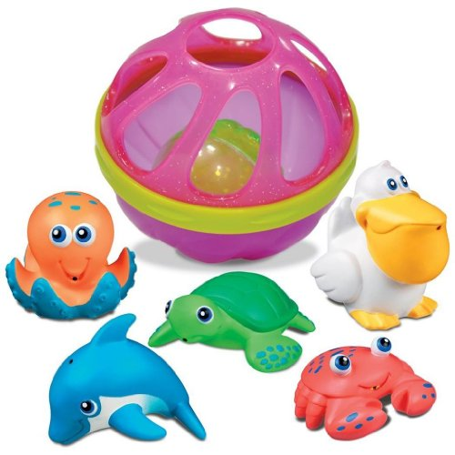 0799666274893 - MUNCHKIN FIVE SEA SQUIRTS WITH BABY BATH BALL, PINK