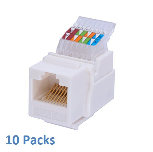 0799872421456 - CYBERTECH COMPACT DESIGNED RJ45 CAT6/CAT5E TOOL-LESS GOLD PLATED KEYSTONE MODULAR JACK IN WHITE, FOR 10-GIGABIT ETHERNET NETWORK CABLE PATCH PANEL WALL PLATE WITH STANDARD KEYSTONE PORTS (10 PACK)