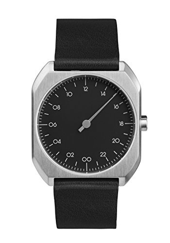 8051766398452 - SLOW MO 06 - SWISS MADE ONE-HAND 24 HOUR WATCH - SILVER WITH BLACK LEATHER BAND