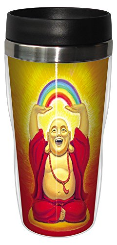 0805866254921 - TREE-FREE GREETINGS 25492 SUSAN HALSTENBERG LAUGHING BUDDHA SIP 'N GO STAINLESS LINED TRAVEL MUG, 16-OUNCE