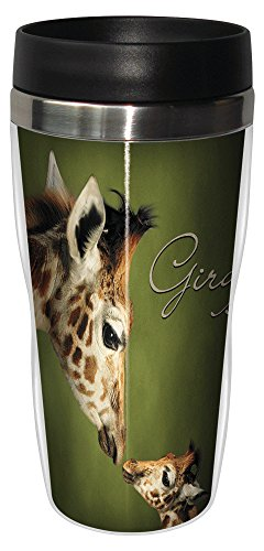 0805866258127 - TREE-FREE GREETINGS 25812 PARENT AND CHILD GIRAFFE SIP 'N GO STAINLESS LINED TRAVEL MUG, 16-OUNCE