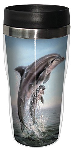 0805866259209 - TREE-FREE GREETINGS 25920 LINDA THOMPSON DOLPHIN LEAPING SIP 'N GO STAINLESS LINED TRAVEL MUG, 16-OUNCE