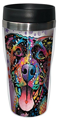 0805866781984 - TREE-FREE GREETINGS 78198 DEAN RUSSO MUTTS FOR YOU SIP 'N GO STAINLESS LINED TRAVEL MUG, 16, MULTICOLOR