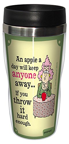 0805866784176 - TREE-FREE GREETINGS 16-OUNCE SIP 'N GO STAINLESS LINED TRAVEL MUG, AUNTY ACID AN APPLE A DAY (SG78417)