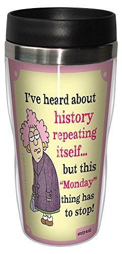 0805866784299 - TREE-FREE GREETINGS 16-OUNCE SIP 'N GO STAINLESS LINED TRAVEL MUG, AUNTY ACID REPEATING MONDAYS (SG78429)