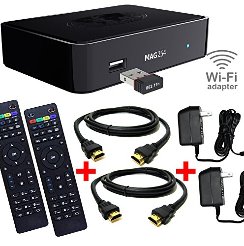 0806802958057 - MAG 254 IPTV WIFI - ROOM2ROOM BUNDLE (1 MAG BOX WITH WIFI ADAPTER, 2 REMOTES, 2 HDMI & 2 POWER SUPPLIES)