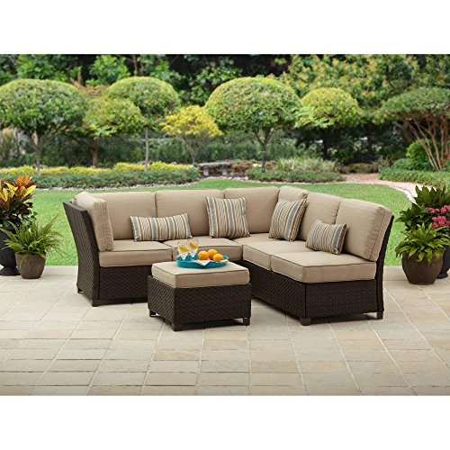 0808939406883 - CADENCE WICKER 3-PIECE OUTDOOR SECTIONAL SOFA SET, TAN, SEATS 5