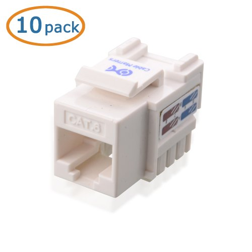 0081159811808 - CABLE MATTERS® 10-PACK CAT6 RJ45 PUNCH-DOWN KEYSTONE JACK IN WHITE