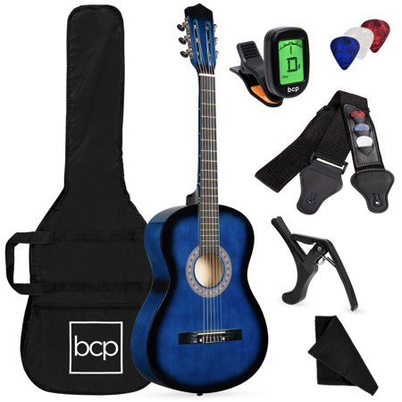 0813373011661 - 38 BLUE STUDENT ACOUSTIC GUITAR STARTER PACKAGE, GUITAR, GIG BAG, STRAP, PITCH PIPE