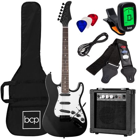 0813373016239 - FULL SIZE BLACK ELECTRIC GUITAR WITH AMP, CASE AND ACCESSORIES PACK BEGINNER STARTER PACKAGE