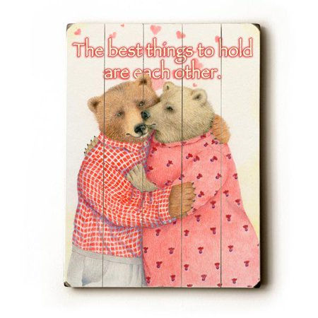 0814702879402 - HOLD EACH OTHER BY ARTIST PARIS BOTTMAN 12X16 PLANKED WOOD SIGN WALL DECOR ART