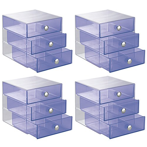 0081492010852 - INTERDESIGN 3 DRAWER STORAGE ORGANIZER FOR COSMETICS, MAKEUP, BEAUTY PRODUCTS AND OFFICE SUPPLIES, 4 PACK, PURPLE