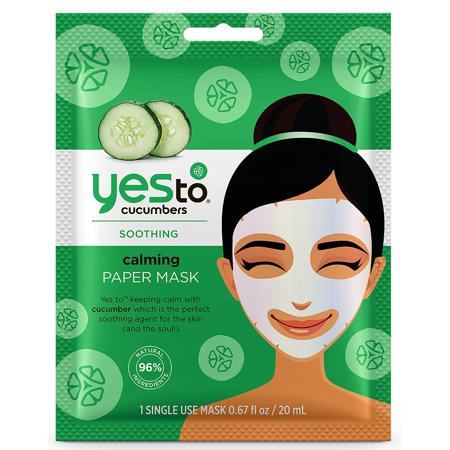 0815921018405 - (2 PACK) YES TO CUCUMBERS CALMING PAPER MASK, SINGLE USE FACE MASK