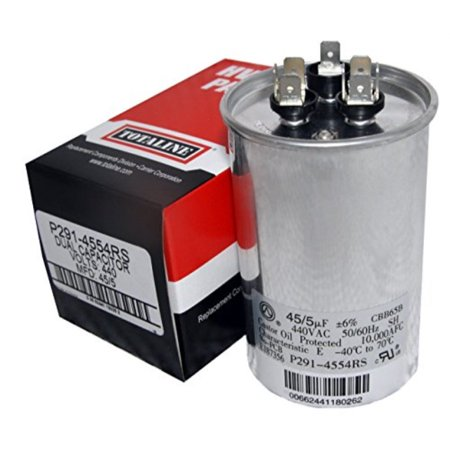 0817506023934 - TOTALINE 45 + 5 MFD UF P291-4554RS 370 OR 440 VOLT DUAL RUN ROUND CAPACITOR MADE BY CARRIER FOR CONDENSER STRAIGHT COOL OR HEAT PUMP AIR CONDITIONER CBB65B