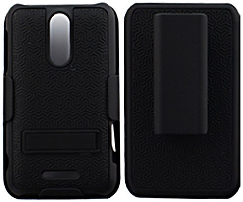 0817760112801 - CP ZTEX500MCB02 SHELL WITH KICKSTAND AND HOLSTER COMBO FOR ZTE SCORE M - COMBO PACK - RETAIL PACKAGING - BLACK