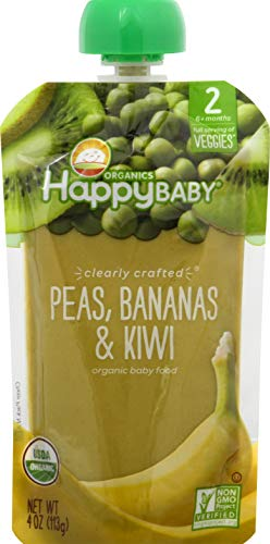 0819573015447 - HAPPY BABY CLEARLY CRAFTED VEGGIES PEAS, BANANAS, & KIWI BABY FOOD, 4 OZ