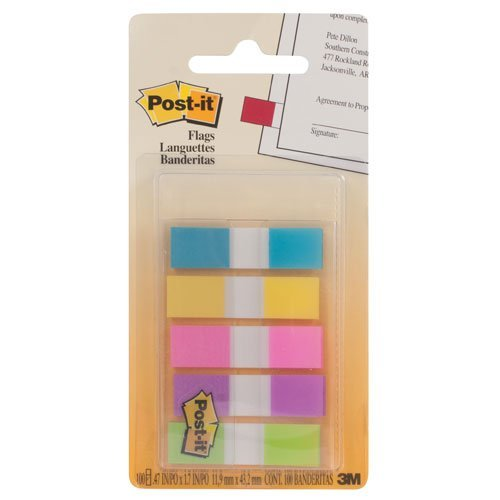 0821079055346 - POST-IT FLAGS WITH ON-THE-GO DISPENSER, ASSORTED BRIGHT COLORS, 1/2-INCH WIDE, 100/DISPENSER, 1-DISPENSER/PACK, 6-PACK