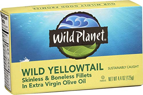 0829696001258 - WILD PLANET SKINLESS BONELESS YELLOW TAIL FILLETS IN ORGANIC EXTRA VIRGIN OLIVE OIL, 4.375 OUNCE