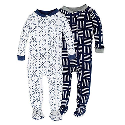 0840109607393 - HONESTBABY BABY 2-PACK ORGANIC COTTON SNUG-FIT FOOTED PAJAMAS, COMPASS/NAVY, 18 MONTHS