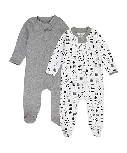 0840109607454 - HONESTBABY BABY 2-PACK ORGANIC COTTON FOOTED PAJAMA SLEEP & PLAY, PATTERN PLAY, 6-9 MONTHS