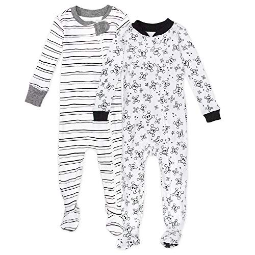 0840109607713 - HONESTBABY BABY 2-PACK ORGANIC COTTON SNUG-FIT FOOTED PAJAMAS, TOSSED SKULLS/SKETCHY STRIPE, 18 MONTHS