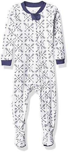 0840109631374 - HONESTBABY BABY ORGANIC COTTON SNUG-FIT FOOTED PAJAMAS, COMPASS, 12 MONTHS