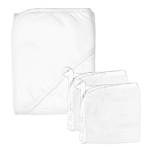 0840109634658 - HONEST BABY CLOTHING 3-PIECE ORGANIC COTTON HOODED TOWEL & WASHCLOTH SET, BRIGHT WHITE, ONE SIZE