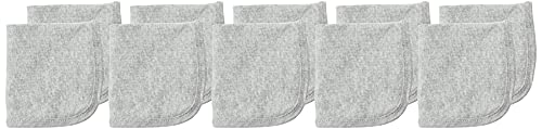 0840109642462 - HONESTBABY 10-PACK ORGANIC COTTON BABY-TERRY WASH CLOTHS, GRAY HEATHER, ONE SIZE