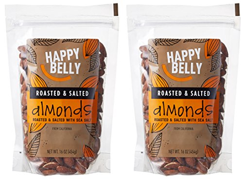 0841710126006 - HAPPY BELLY ROASTED & SALTED CALIFORNIA ALMONDS, 16 OZ, PACK OF 2
