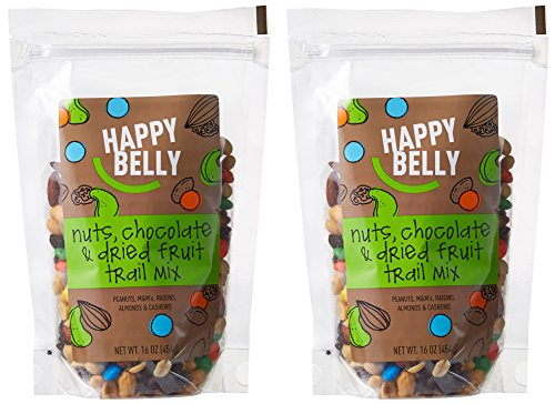 0841710126082 - HAPPY BELLY NUTS, CHOCOLATE & DRIED FRUIT TRAIL MIX, 16 OUNCE, PACK OF 2
