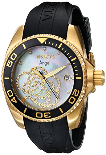 0843836004893 - INVICTA WOMEN'S 0489 ANGEL COLLECTION CUBIC ZIRCONIA-ACCENTED WATCH WITH BLACK PU BAND
