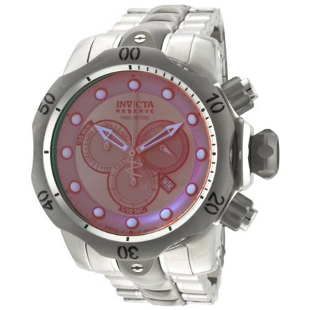 0843836009676 - INVICTA MEN'S 0967 VENOM RESERVE CHRONOGRAPH ROSE TINTED CRYSTAL STAINLESS STEEL WATCH