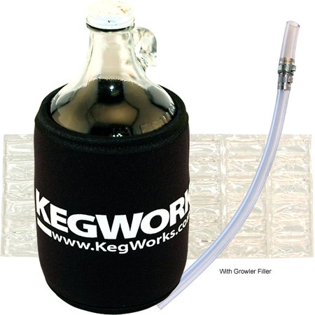 0845033017201 - KEGWORKS GLASS BEER GROWLER KIT: WITHOUT GROWLER JUG FILLER