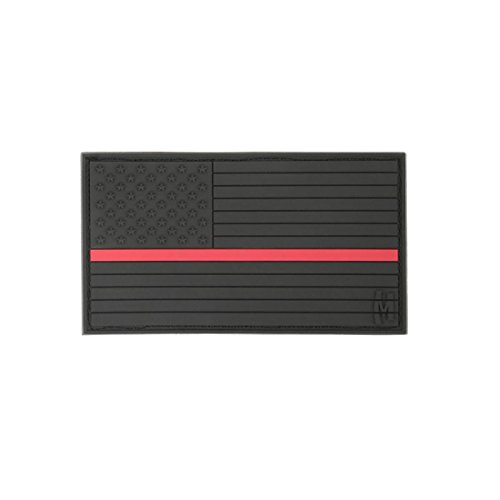 0846909013600 - MAXPEDITION GEAR LARGE USA FLAG PATCH, FIREFIGHTER THIN RED LINE, 3.25 X 1.75-INCH
