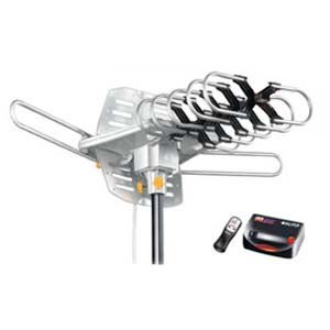0848034022182 - AMPLIFIED HD DIGITAL OUTDOOR HDTV ANTENNA WITH MOTORIZED 360 DEGREE ROTATION, UHF/VHF/FM RADIO WITH INFRARED REMOTE CONTROL