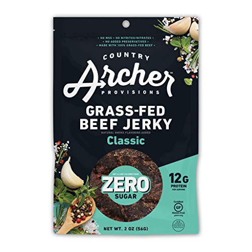 0850011381489 - ZERO SUGAR CLASSIC BEEF JERKY BY COUNTRY ARCHER, 100% GRASS-FED, GLUTEN FREE, 2 OUNCE (6 PACK)