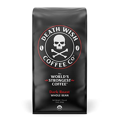 0858869003003 - DEATH WISH WHOLE BEAN COFFEE, THE WORLD'S STRONGEST COFFEE, FAIR TRADE AND USDA CERTIFIED ORGANIC - 16 OUNCE BAG