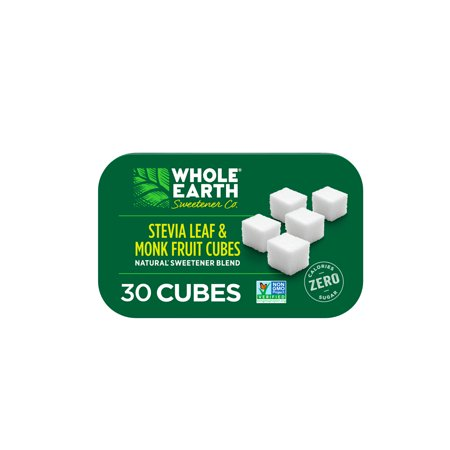 0858982001726 - WHOLE EARTH CUBES, STEVIA MONK FRUIT AND ERYTHRITOL SWEETENER, 30 CUBES PER TIN