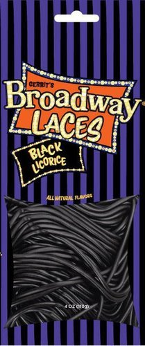 0086232319707 - GERRIT'S BROADWAY BLACK LICORICE LACES 4 OZ BAG (PACK OF 12)