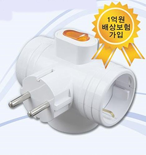 8809055423015 - 3WAY T-BONE KOREAN SAFETY SWITCH POWER MULTI TAP CORD CABLE PLUG OUTLET ADAPTER 220~250V WALL SOCKET