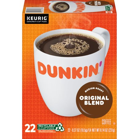 0881334012675 - DUNKIN' DONUTS ORIGINAL BLEND K-CUP COFFEE PODS, MEDIUM ROAST, 22 COUNT FOR KEURIG AND K-CUP COMPATIBLE BREWERS