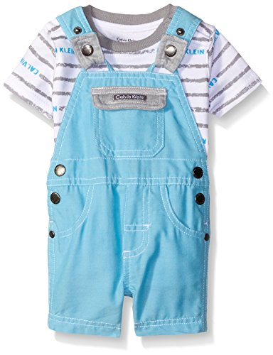 0881634127833 - CALVIN KLEIN BABY-BOYS PRINTED INTERLOCK TOP AND SHORTALL, BLUE, 24 MONTHS