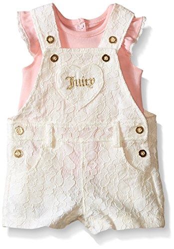0881634158981 - JUICY COUTURE BABY SOLID INTERLOCK TOP AND LACE SHORTALL, VANILLA, 0-3 MONTHS