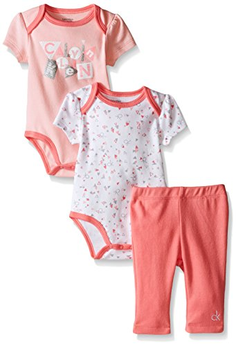 0881634190165 - CALVIN KLEIN BABY-GIRLS 2 PRINTED AND SOLID BODYSUITS AND COMBED INTERLOCK PANTS, PINK, 6-9 MONTHS