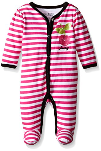0881634285977 - JUICY COUTURE BABY SLEEPER - STRIPES AND SOLID INTERLOCK, BERRY, 0-3 MONTHS