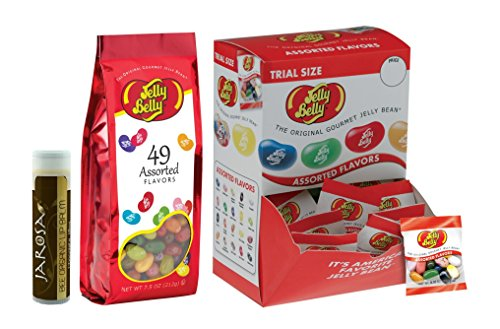 0088234830471 - JELLY BELLY JELLY BEANS, ASSORTED FLAVORS 0.35-OUNCE BAGS (PACK OF 80) AND 7.5 OUNCES OF 49 ASSORTED FLAVORS WITH A JAROSA BEE ORGANIC CHOCOLATE BLISS LIP BALM