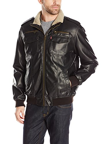 0882713878097 - LEVI'S MEN'S VINTAGE DEER TOUCH FAUX LEATHER SHERPA LINED AVIATOR BOMBER, DARK BROWN, M