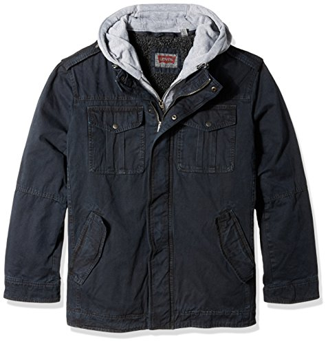 0882713909845 - LEVI'S MEN'S WASHED COTTON FOUR POCKET TRUCKER HOODY WITH FULL SHERPA LINING, NAVY, 4X BIG