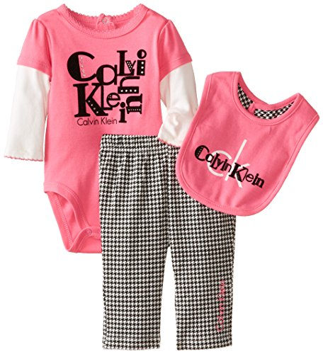 0883608193462 - CALVIN KLEIN BABY-GIRLS NEWBORN TWOFER BODYSUIT WITH PANTS AND BIB, PINK, 3-6 MONTHS